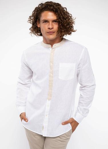 DeFacto Keten Karışım Hakim Yaka Slim Fit Gömlek Beyaz
